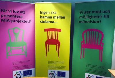 Tre reklamaffischer från MIA-projektet